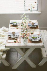 Mesa de comedor de madera blaca decapada| Woodies
