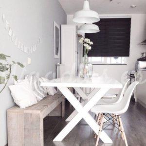 Mesa de comedor blanca decapada | Woodies