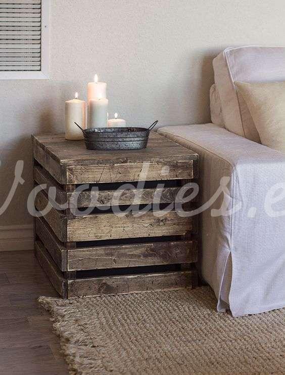 Mesa auxiliar de cajón de madera | Woodies