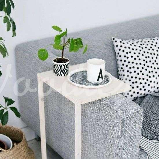 Mesa auxiliar blanca para sillón | Woodies