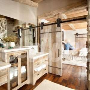 Baño rústico puerta corredera | Woodies
