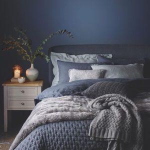 Azul oscuro en pared de dormitorio | Woodies