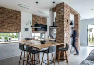 Isla de cocina en negro y madera | Woodies