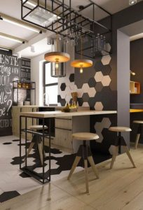 Barra de cocina en negro y madera | Woodies