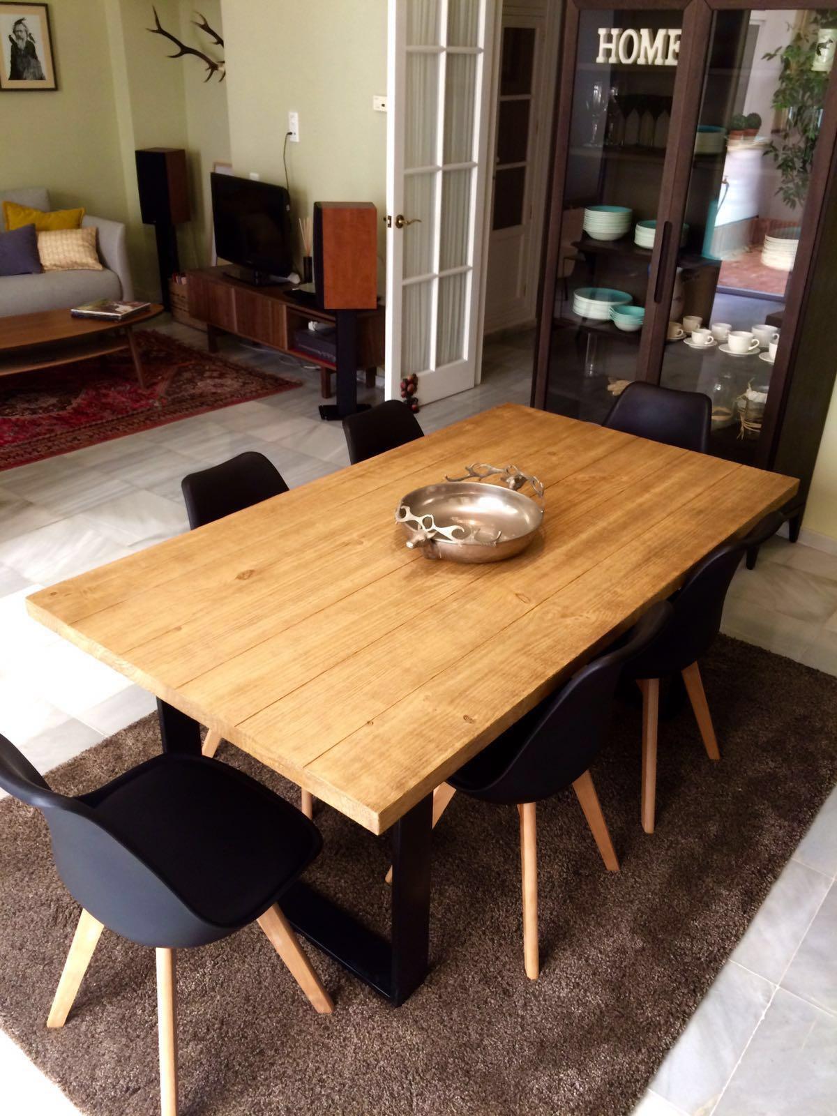 Mesa de comedor industrial muebles r sticos a medida for Muebles para comedores industriales