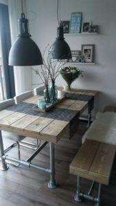 decoracion mesa de comedor de madera