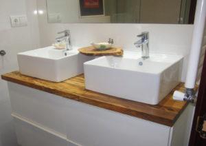 Encimeras de madera para baños mueble añadido