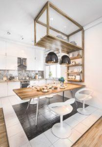 Ideas para aprovechar el espacio en la cocina mesa maciza