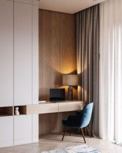 Espacios compartidos con estilo dormitorio y despacho